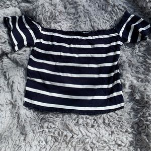 Striped, Off-The-Shoulder, Cropped Shirt